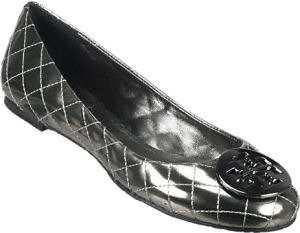 Tory Burch - Quinn Pewter Leather Flats