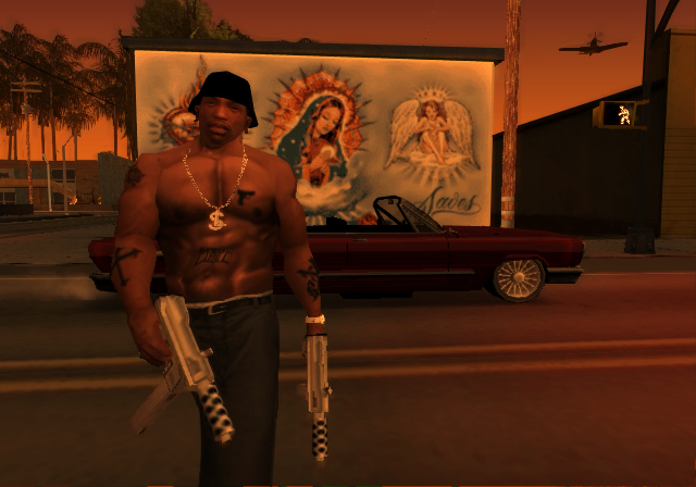 African American; Big gold necklace; Gang tattoos; Big Ol' Rims; Guns,